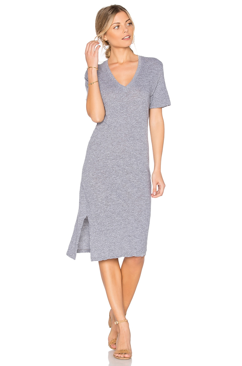 MONROW Oversized Knot Tee Dress in Granite