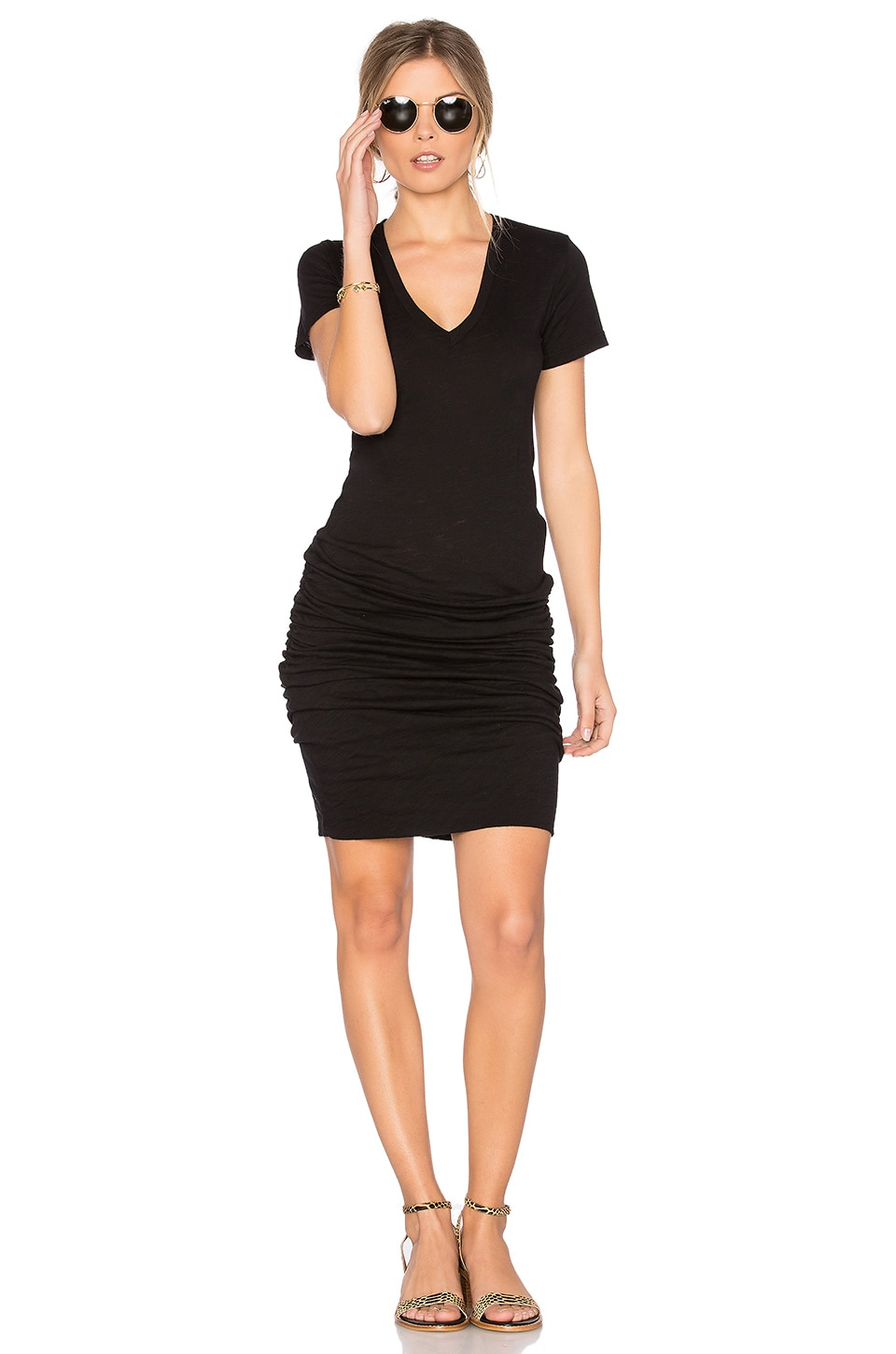 MONROW V Neck Dress in Black