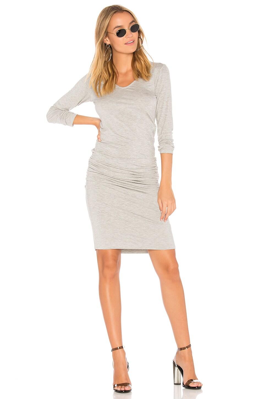 MONROW Long Sleeve Shirred Dress in Heather Grey