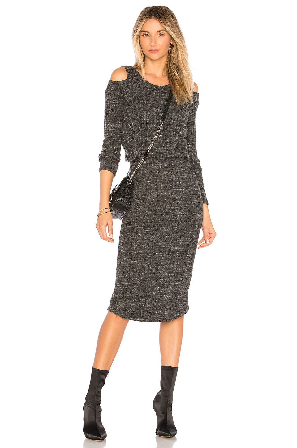 MONROW Double Layer Sweater Rib Dress in Charcoal