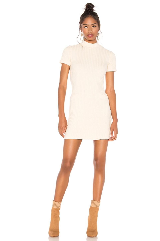 MONROW Chunky Rib Mock Neck Mini Dress in Cream