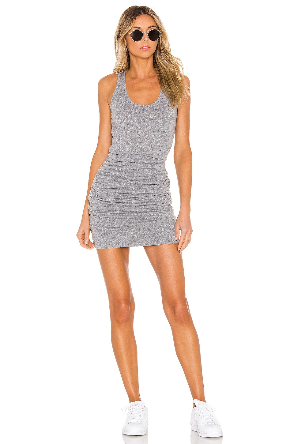 MONROW Tank Shirred Dress in Granite
