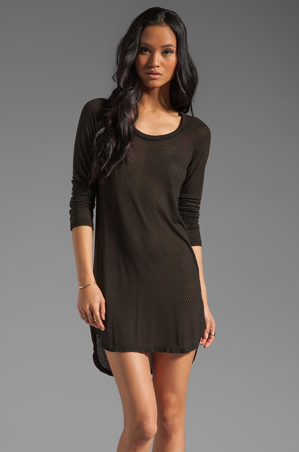 MONROW Performa Jersey Coverup Dress in Black