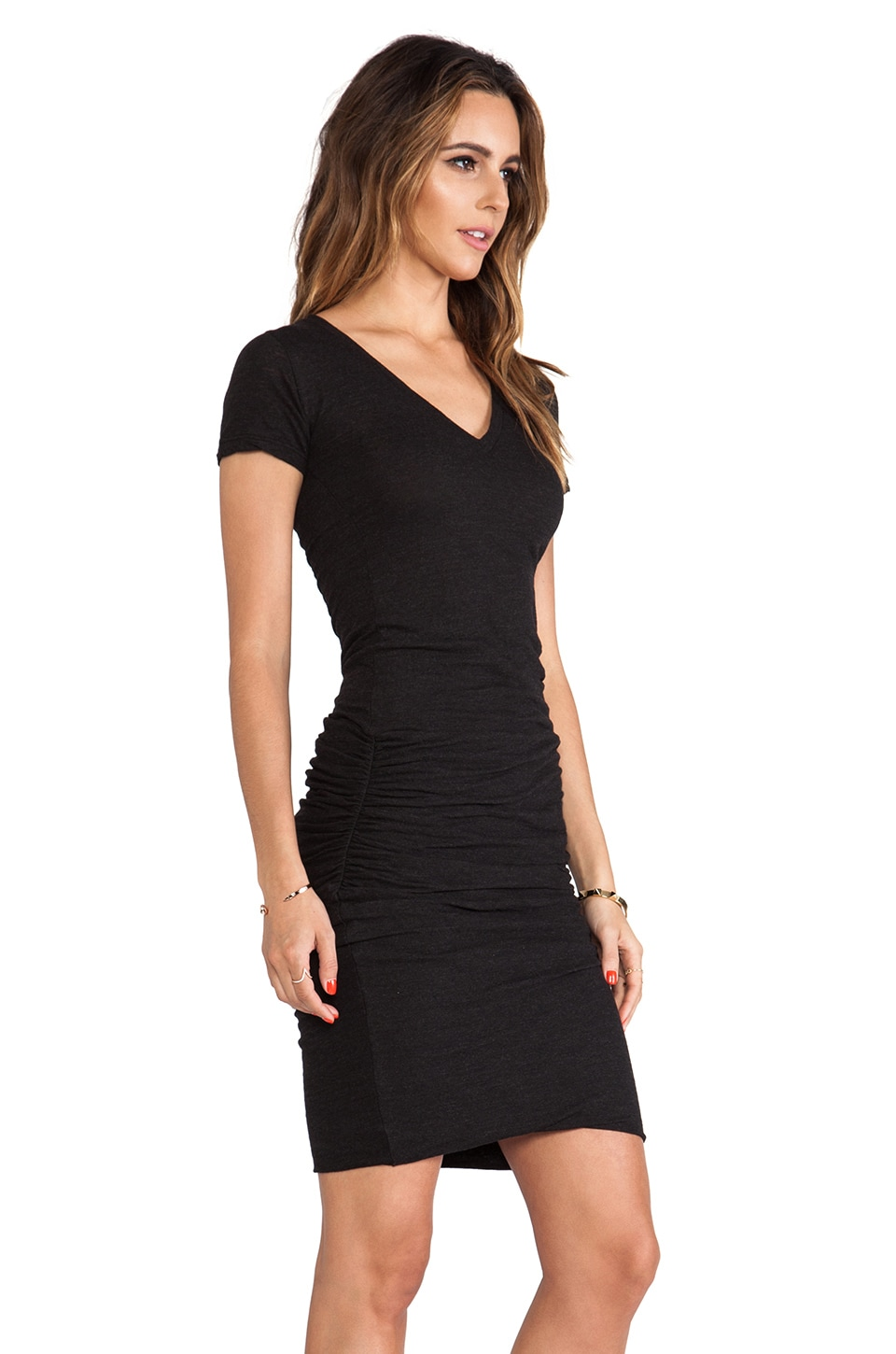 MONROW Shirred Tee Dress in Black