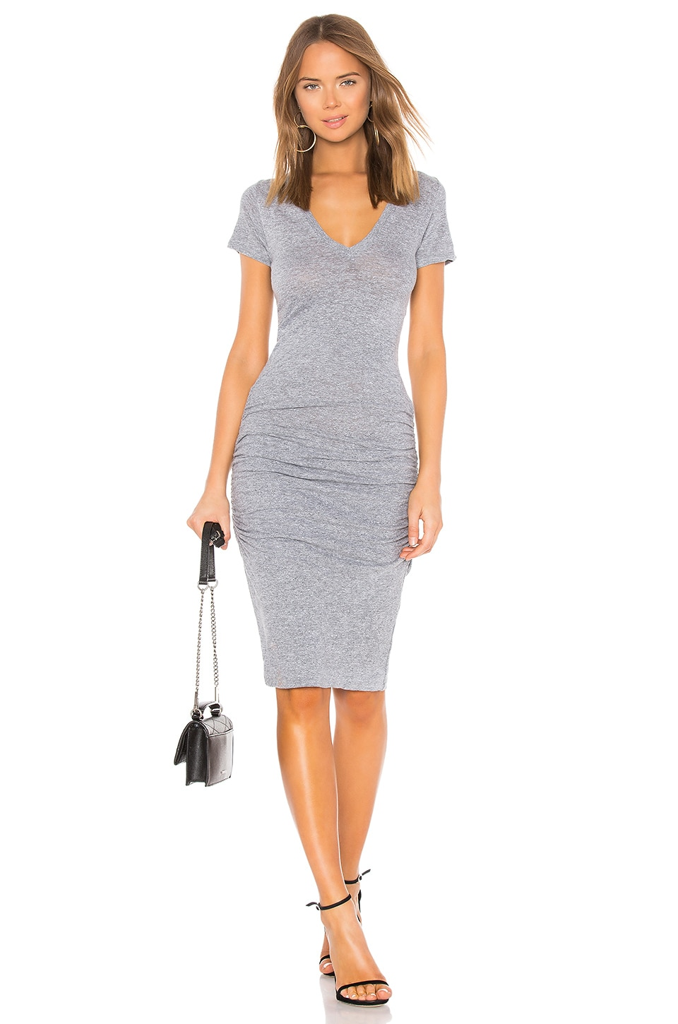 MONROW Shirred Tee Dress in Granite
