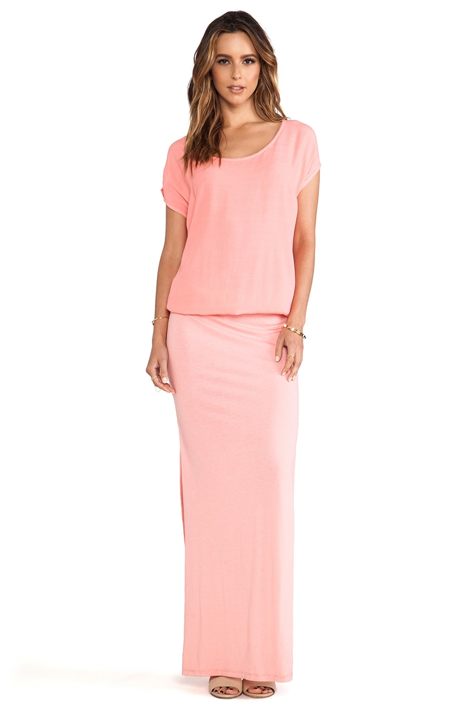 MONROW Crepe Woven Maxi Dress in Light Coral