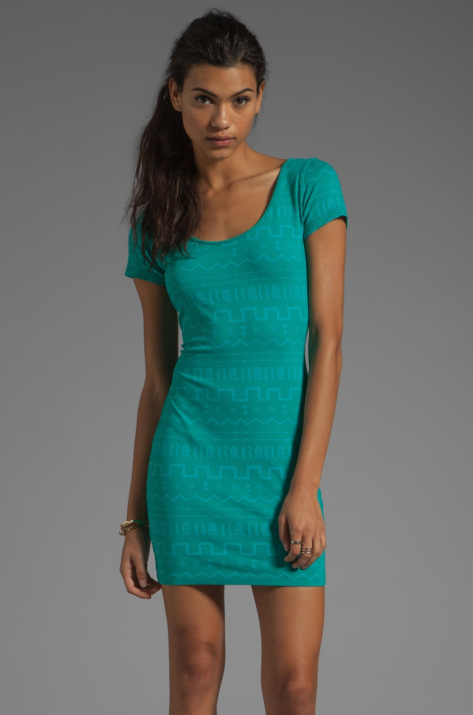 MONROW Tiki Print Double Scoop Dress in Bright Teal