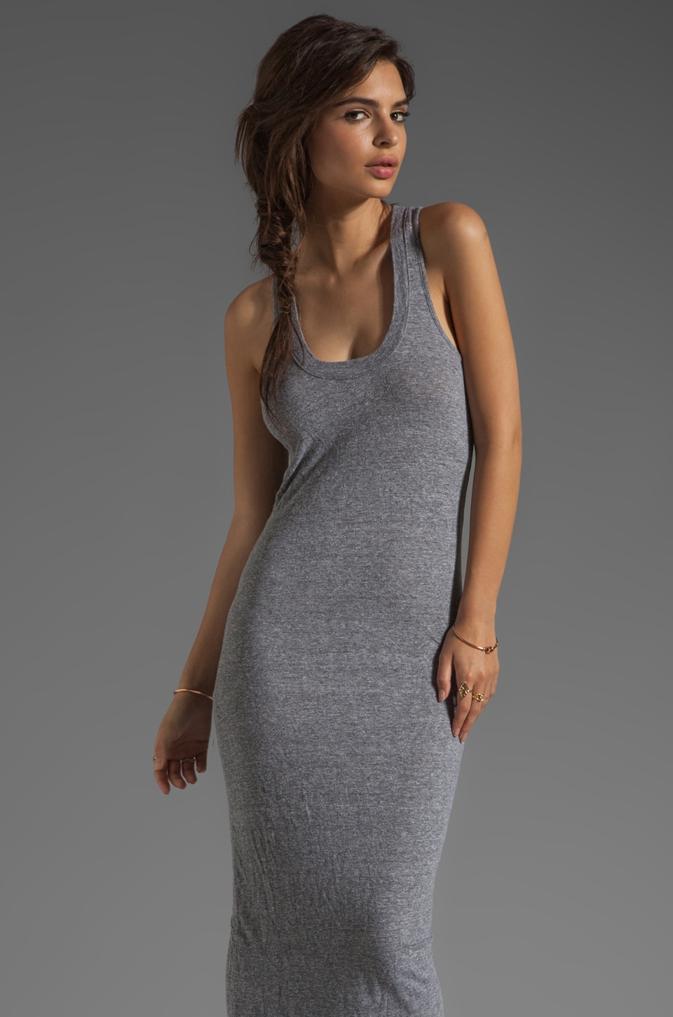 MONROW Granite Basics Tank Maxi Dress in Granite