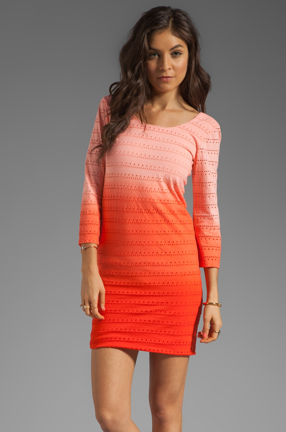 MONROW Ombre Eyelet Jersey Dress in Nectar