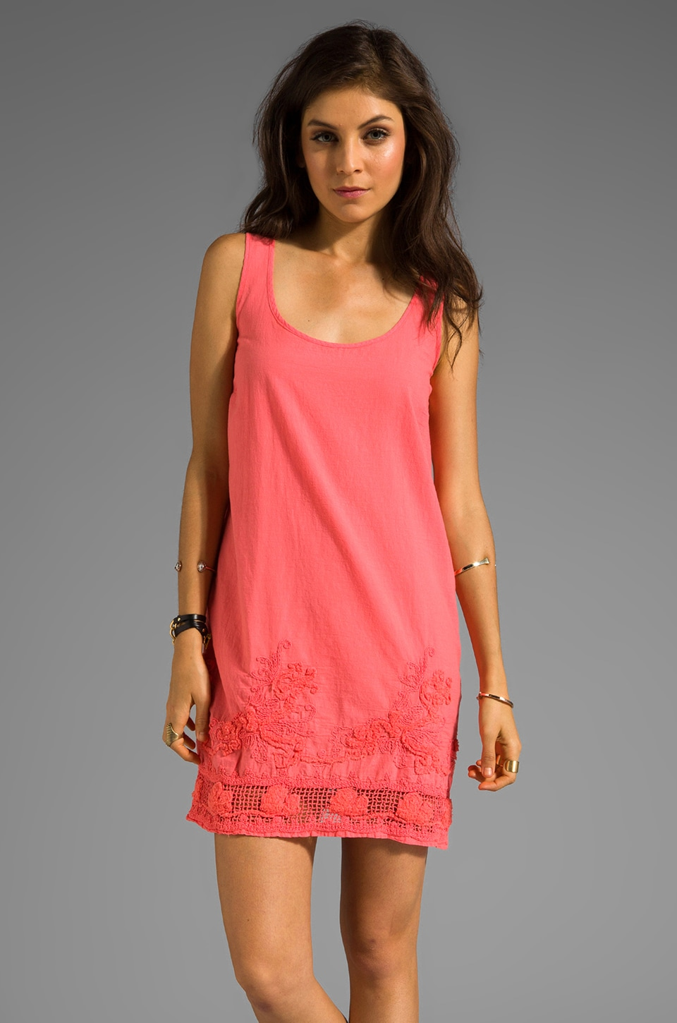 MONROW Woven Embroidered Dress in Coral