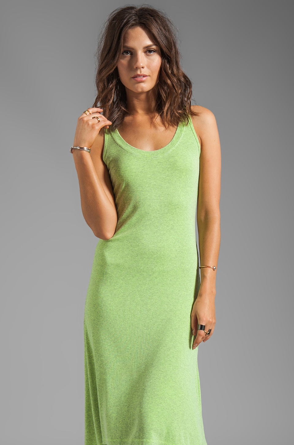 MONROW Rib Tank Dress in Neon Citron