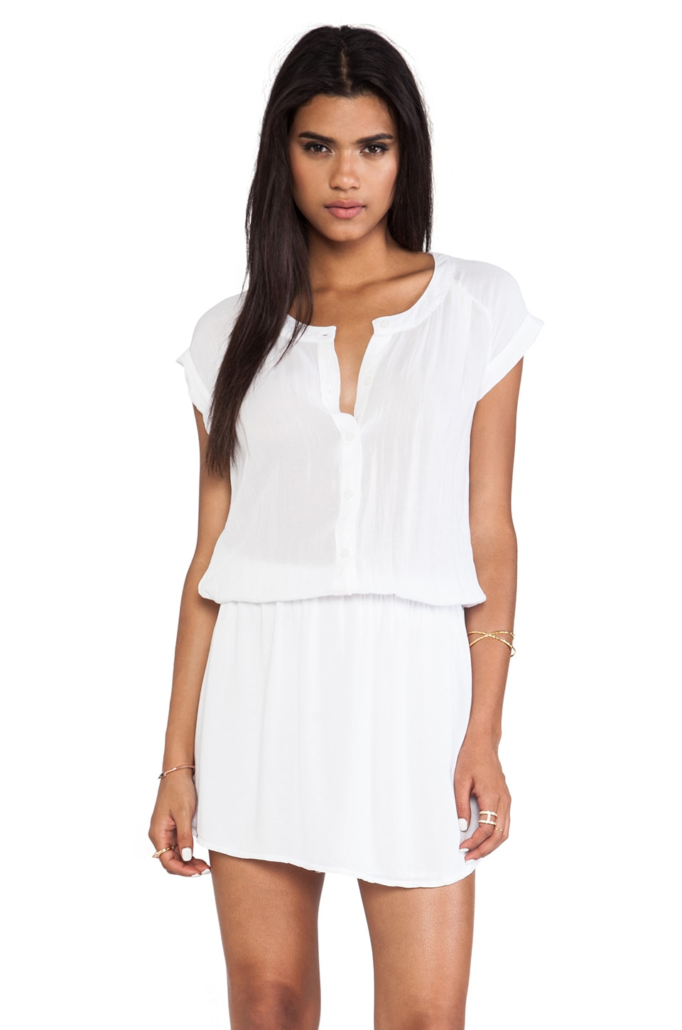 MONROW Basic Blouse Dress en Blanc