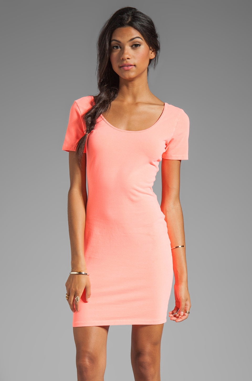 MONROW Double Scoop Tee Dress in Neon Orange