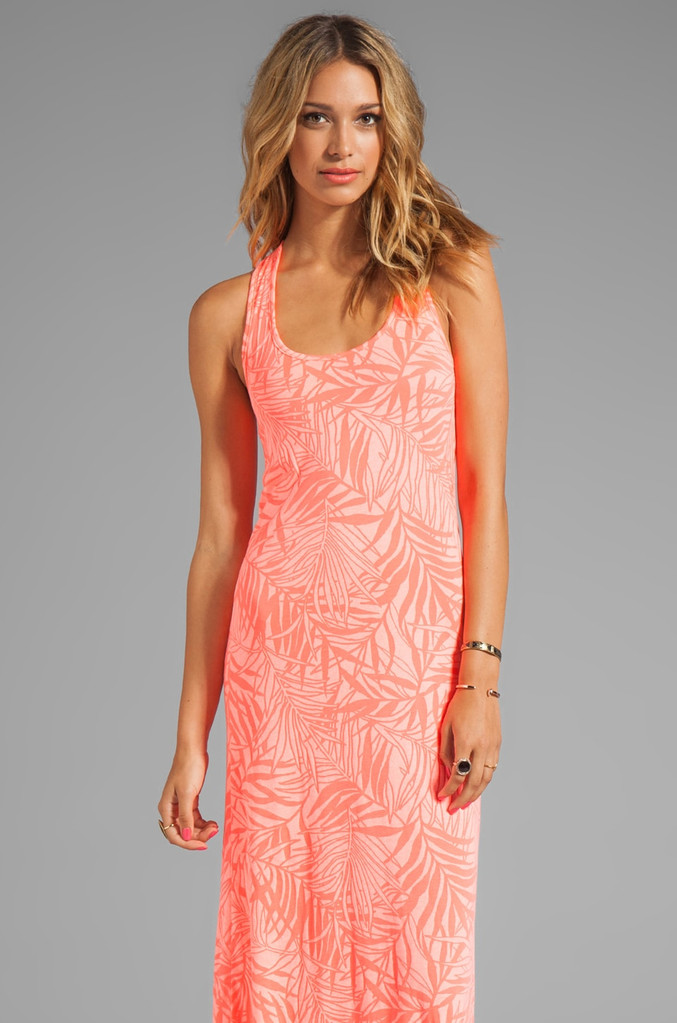 MONROW Island Leaves Maxi Dress in Electric Coral