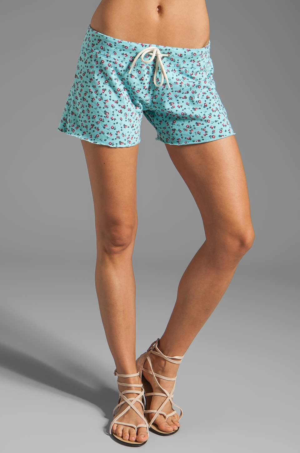 MONROW Ditsy Print Vintage Shorts in Spearmint