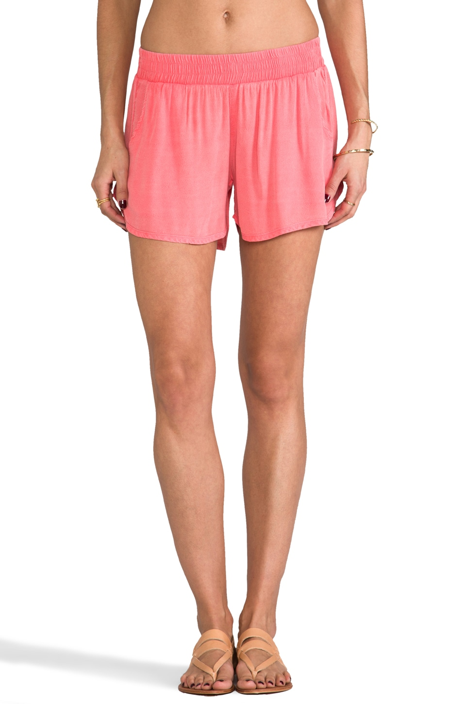 MONROW Crepe Dolphin Short in Guava