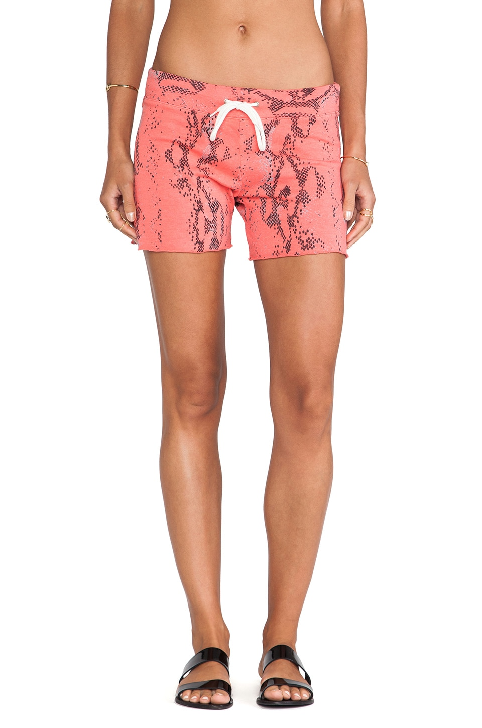 MONROW Snake Vintage Shorts in Coral