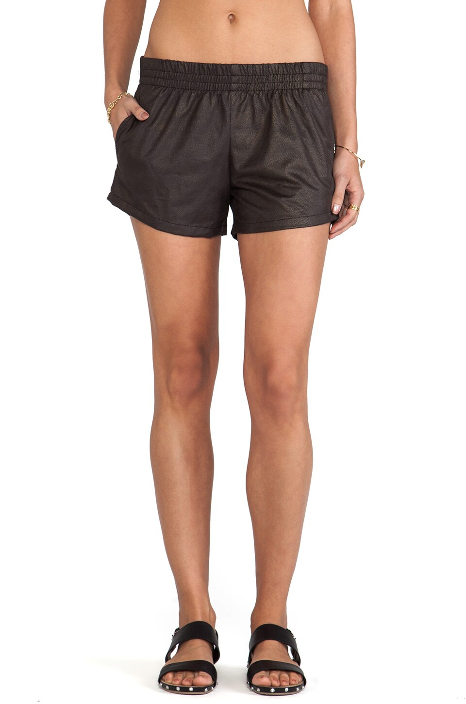 MONROW Vegan Leather Shorts in Black