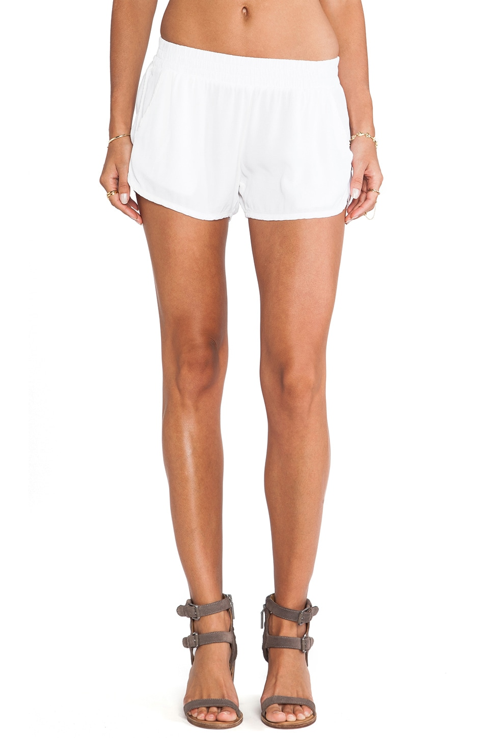 MONROW Crepe Dolphin Short in White