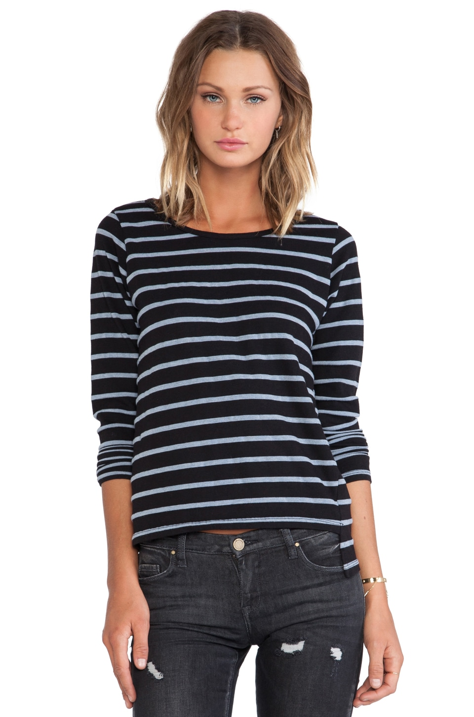 MONROW Denim Stripes French Tee in Black