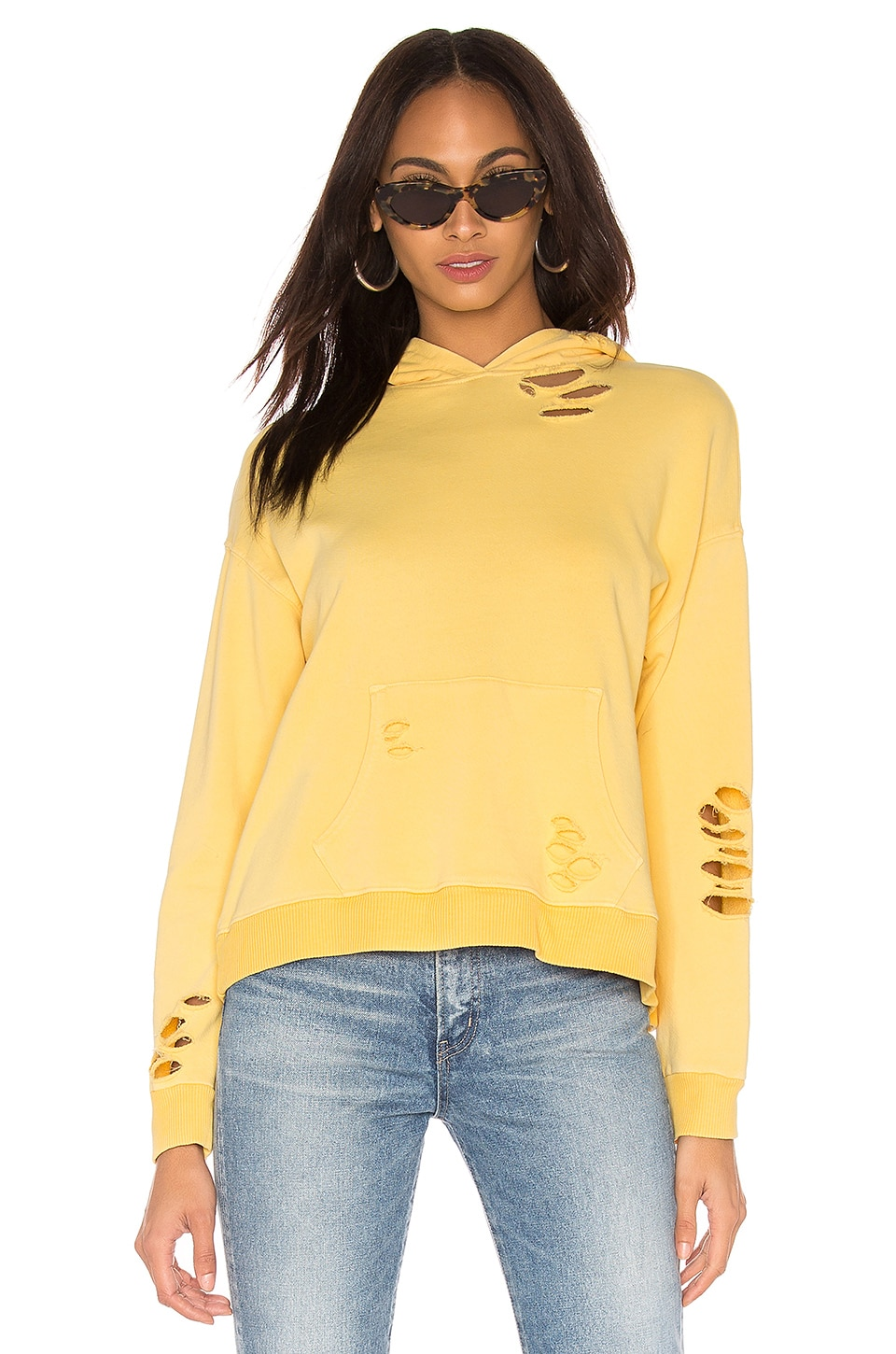 MONROW Oversized Distressed Hoodie in Golden Sun