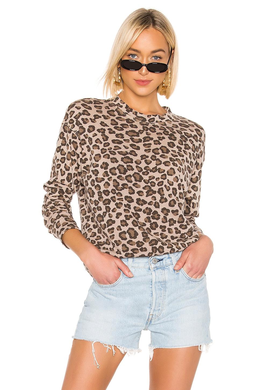 MONROW Leopard Seamed Sweatshirt in Dust