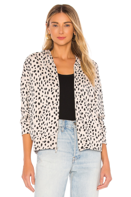MONROW Cheetah Boxy Zip Up Hoodie in Bone