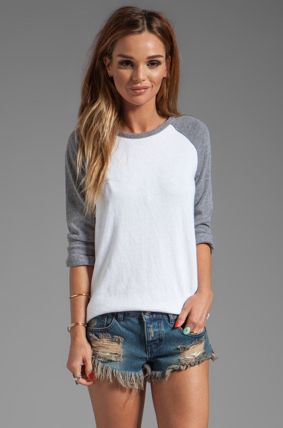 MONROW Rock Fleece Sweatshirt in White