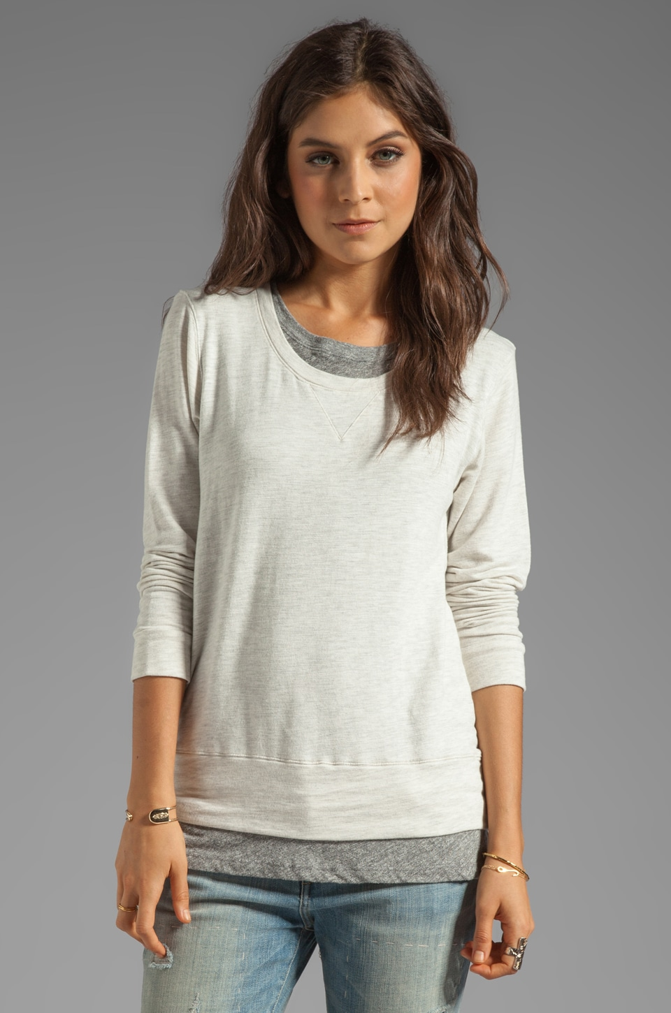 MONROW Layered Soft Fleece Sweatshirt in Natural
