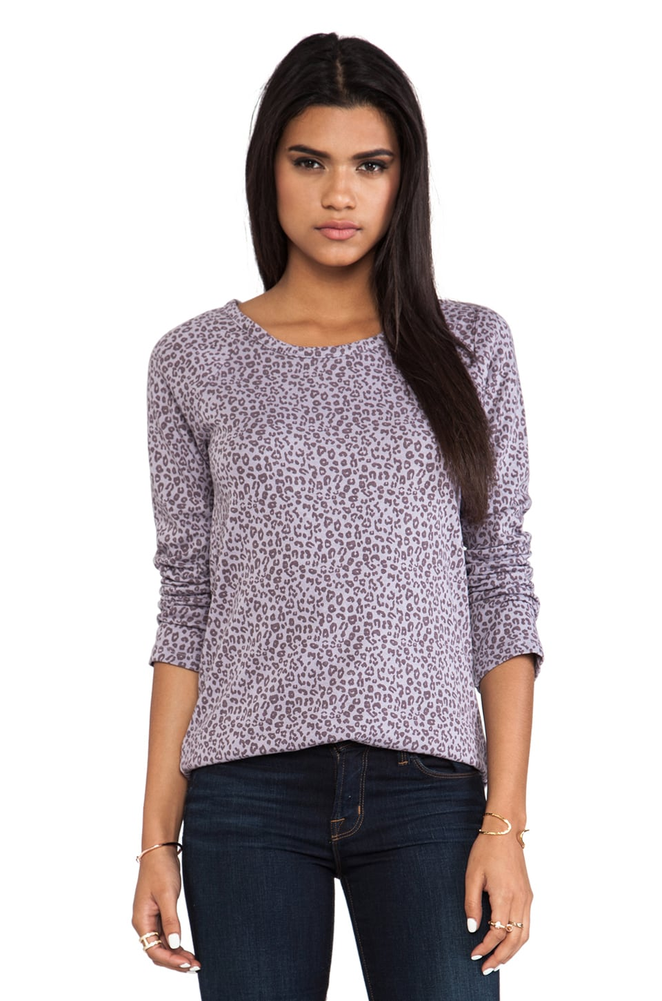MONROW Rock Leopard Sweatshirt in Opal