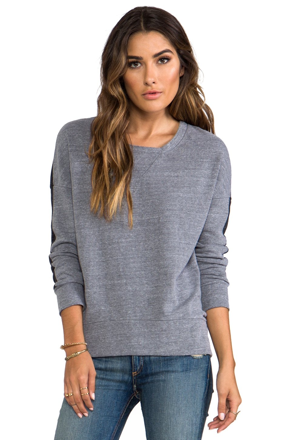 MONROW Half and Half Oversized Sweatshirt in Dark Heather