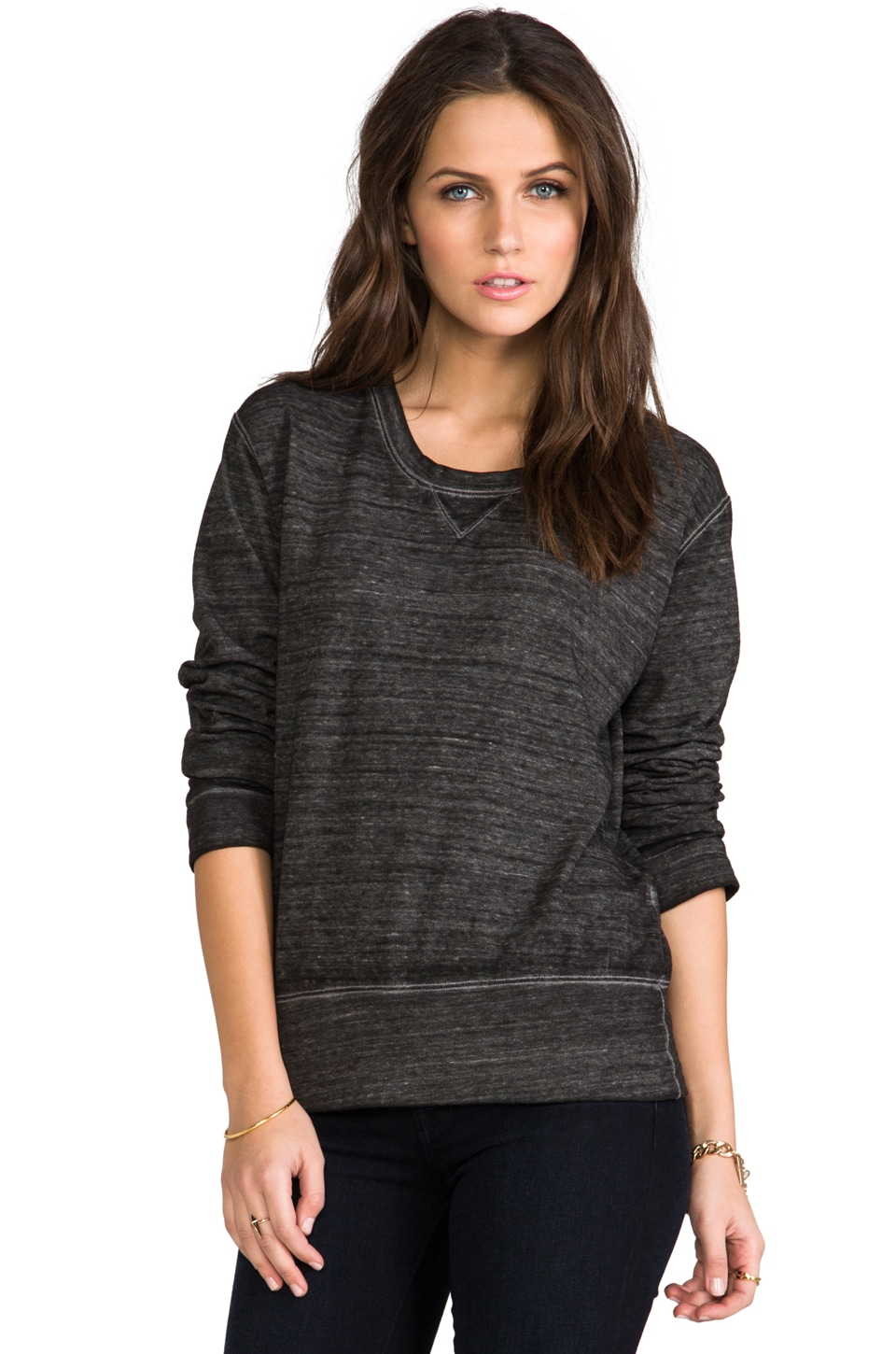 MONROW Vintage Burn Out Sweatshirt in Dark Heather