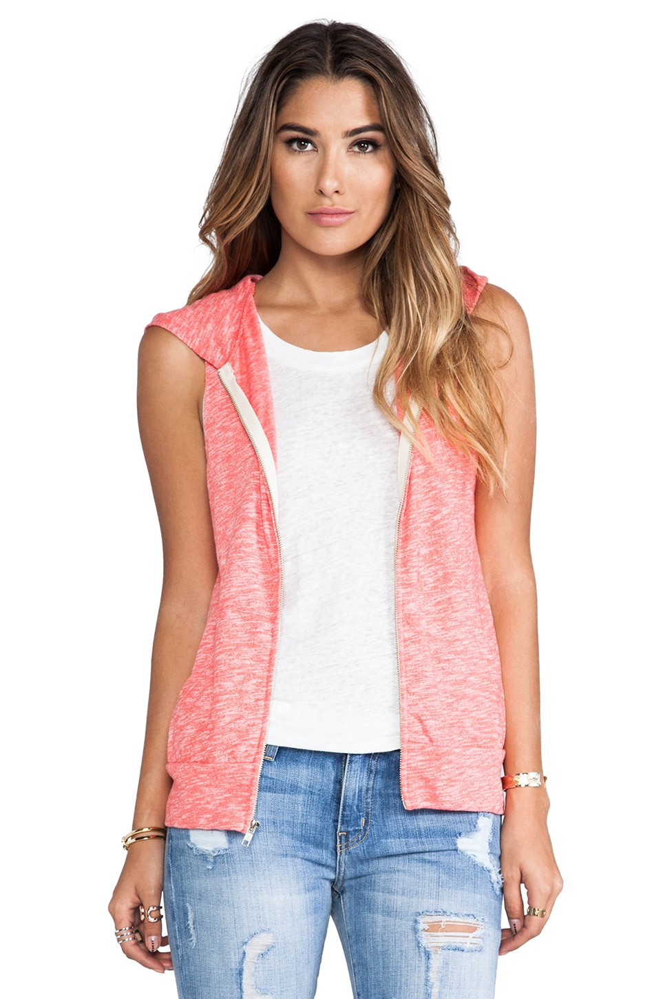 MONROW Vintage Sleeveless Hoody in Guava