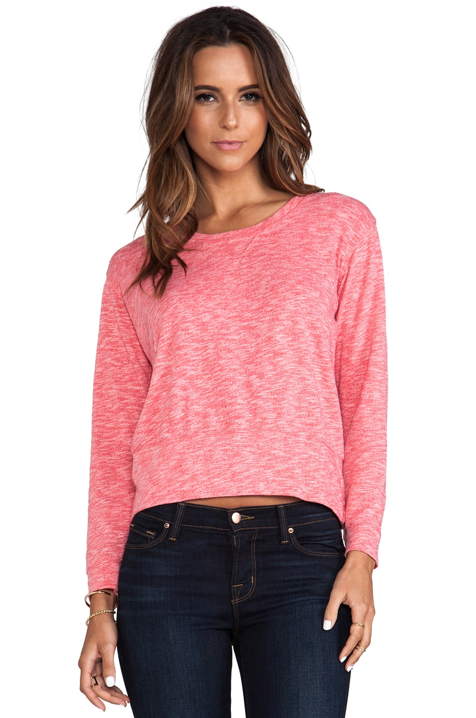 MONROW Cosmic Fleece Sweatshirt in Coral