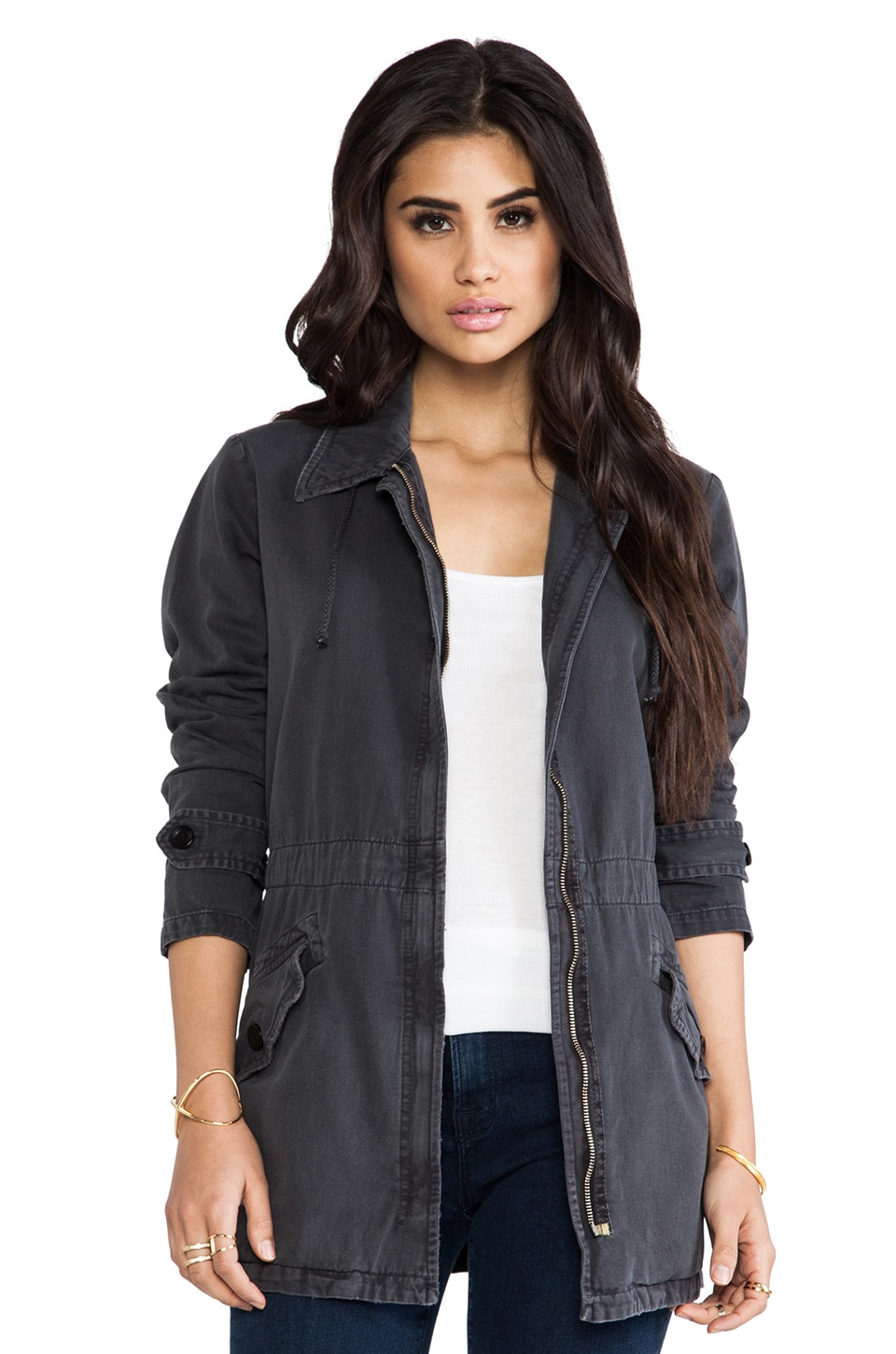 MONROW Vintage Basics Military Jacket in Black
