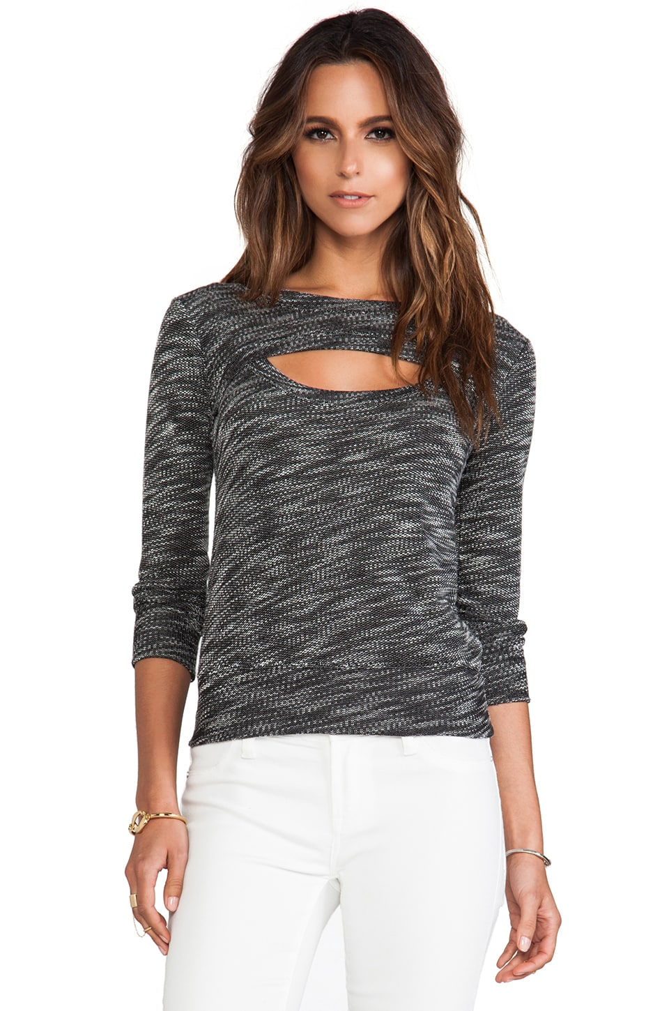 MONROW Luxe French Terry Open Sweatshirt in Black
