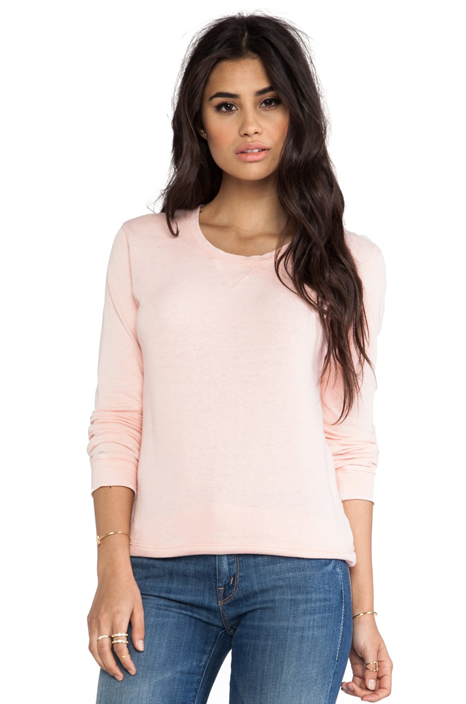 MONROW Vintage Crew Sweatshirt in Tea Rose
