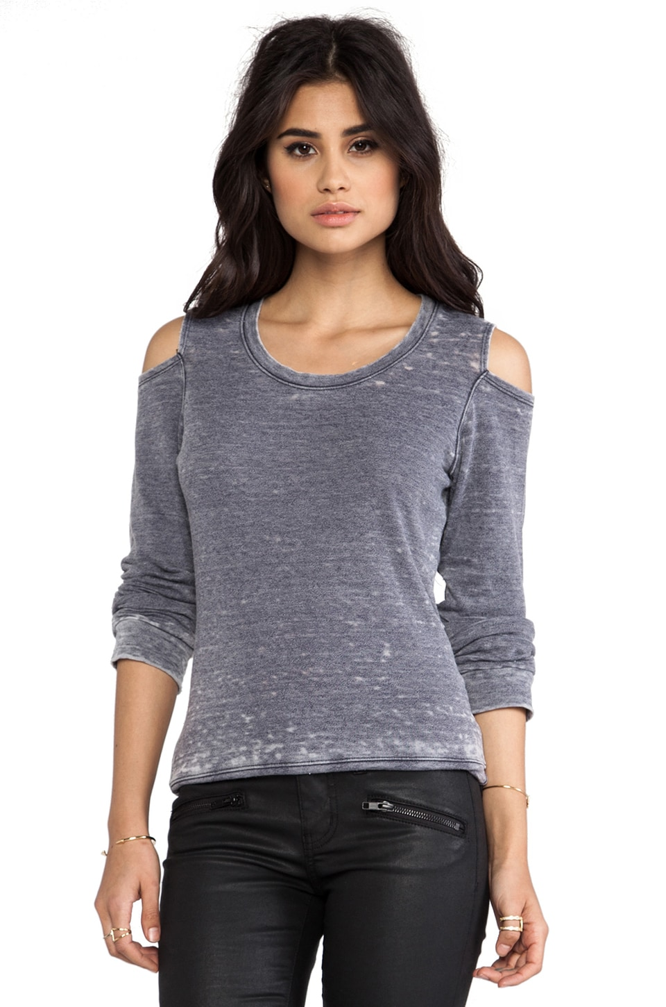 MONROW Vintage Basics Cut Out Sweatshirt in Neptune