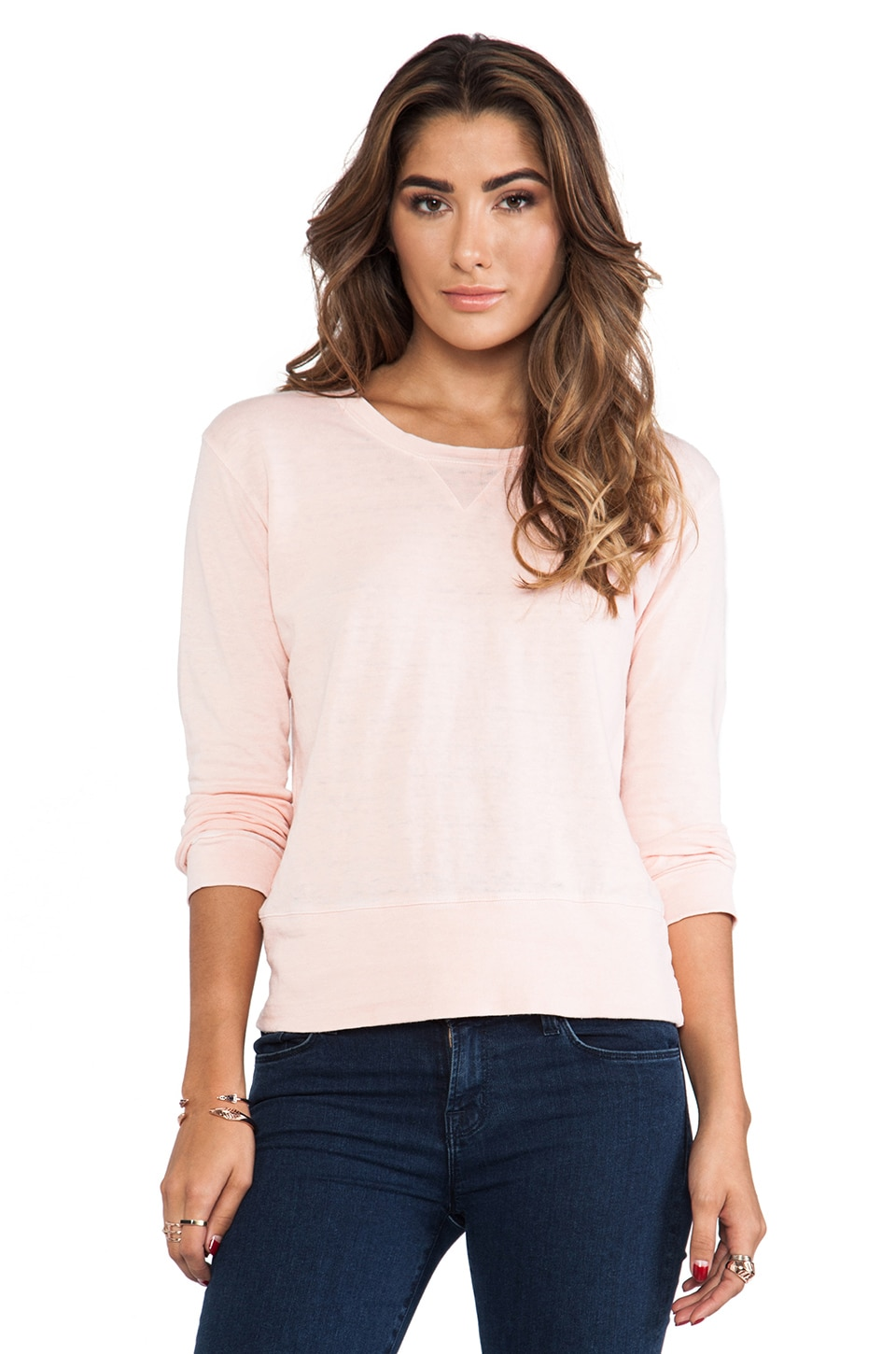 MONROW Vintage Basics Crew Sweatshirt in Rose