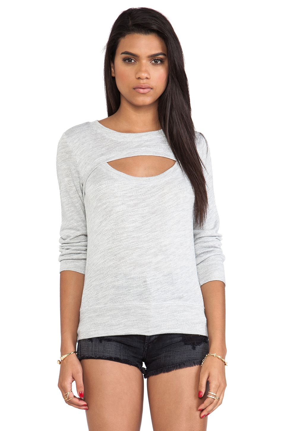MONROW Luxe French Terry Open Sweatshirt in Light Grey