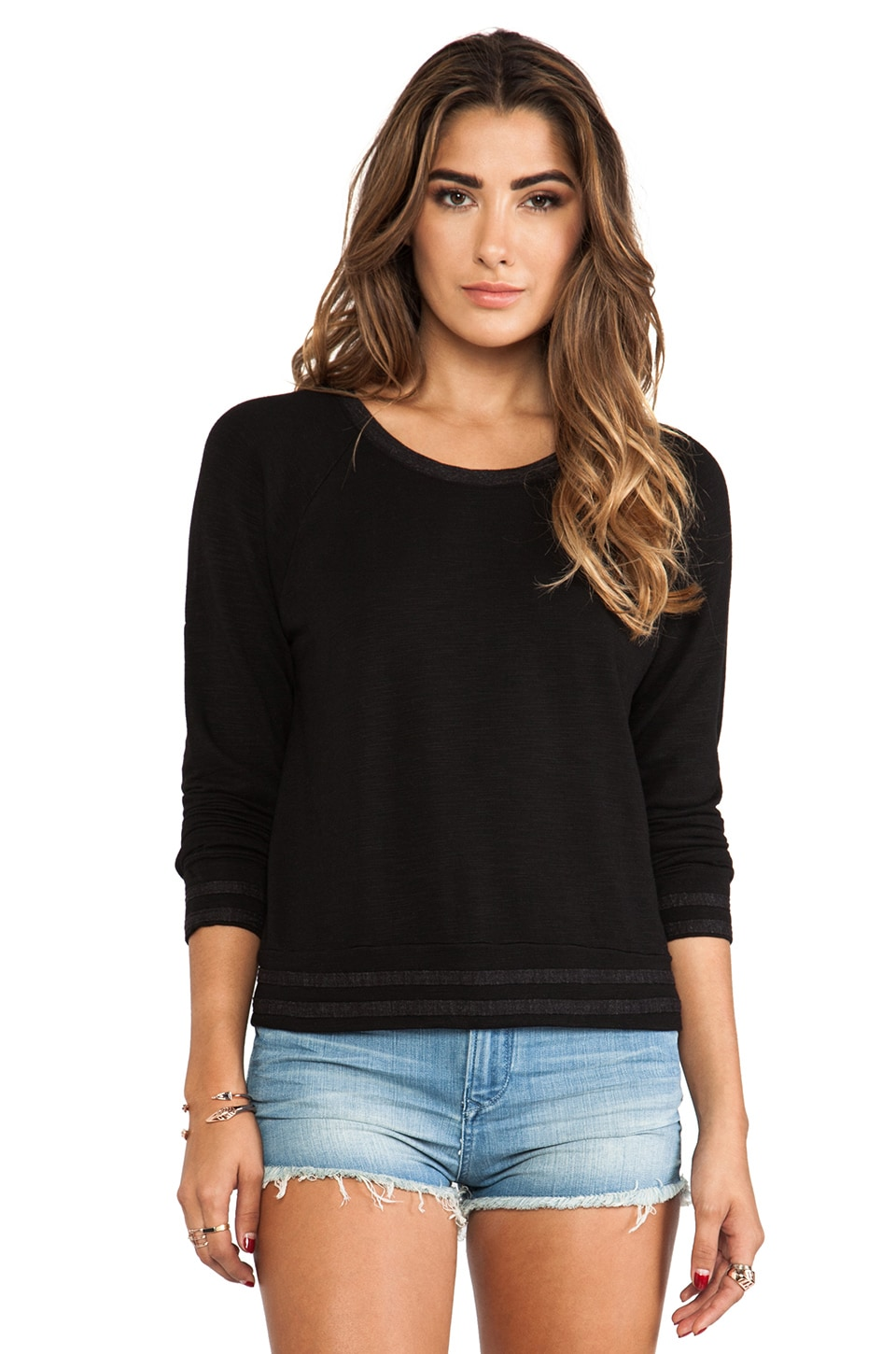 MONROW Athletic Sweatshirt in Black