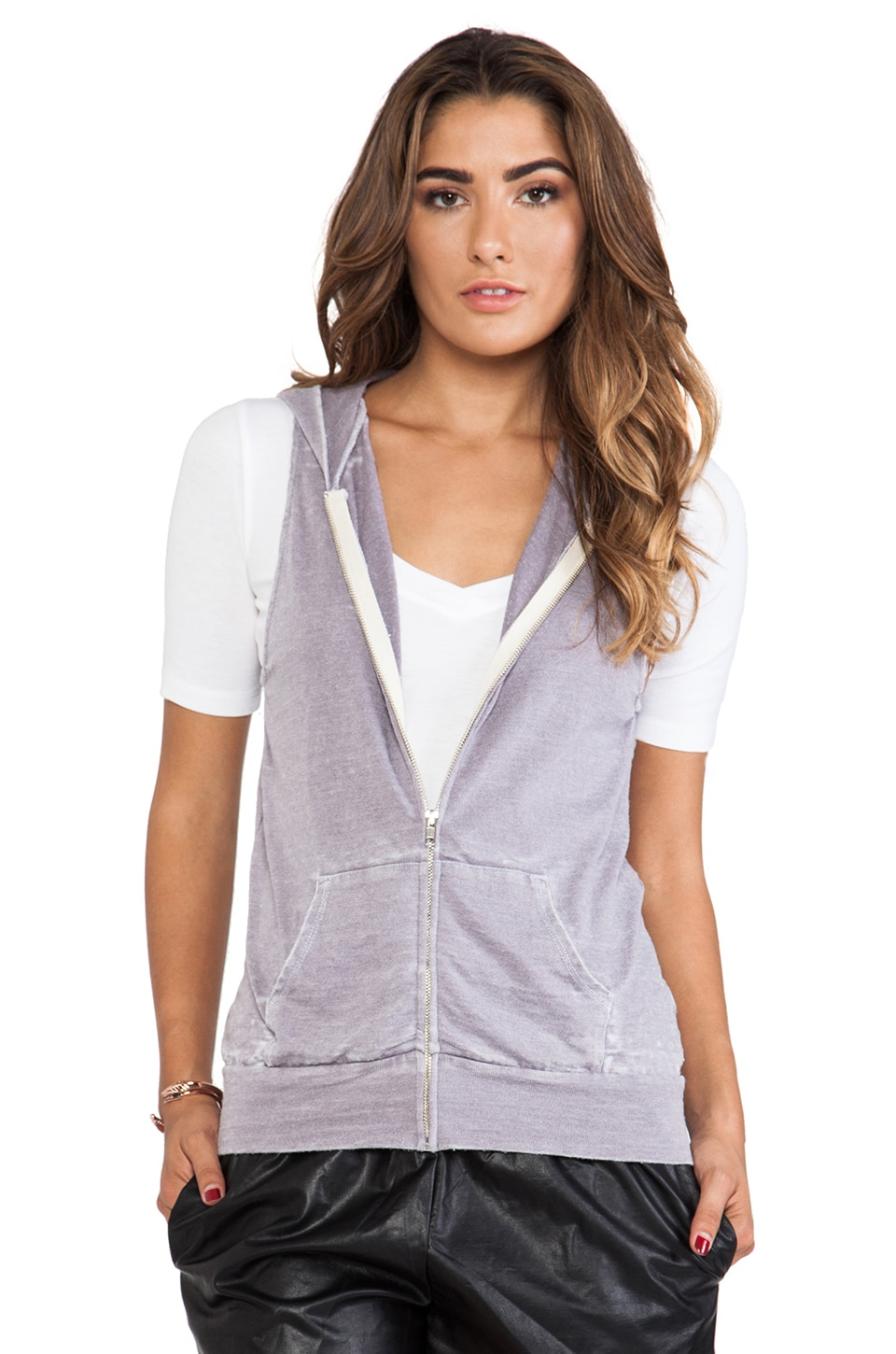 MONROW Vintage Basics Sleeveless Hoody in Light Blue