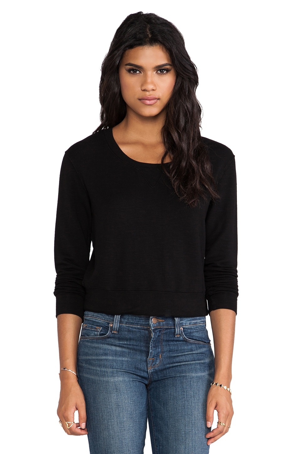 MONROW Ash French Terry Cropped Vintage Sweatshirt in Black