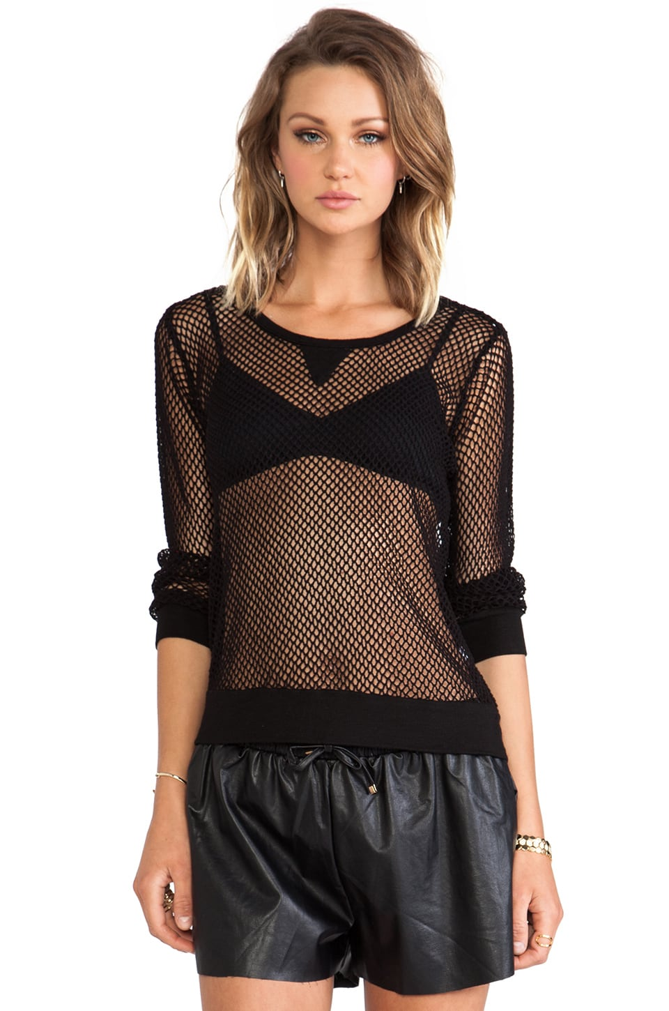 MONROW Fishnet Mesh Sweatshirt in Black