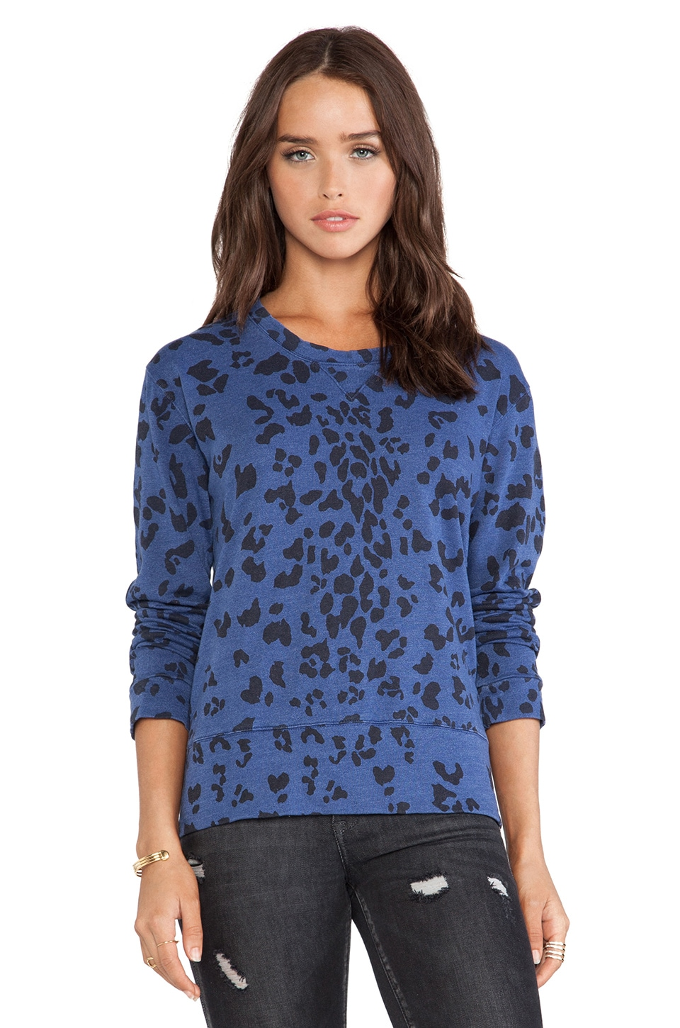 MONROW Oversized Leopard Print Loose Vintage Crew in Navy