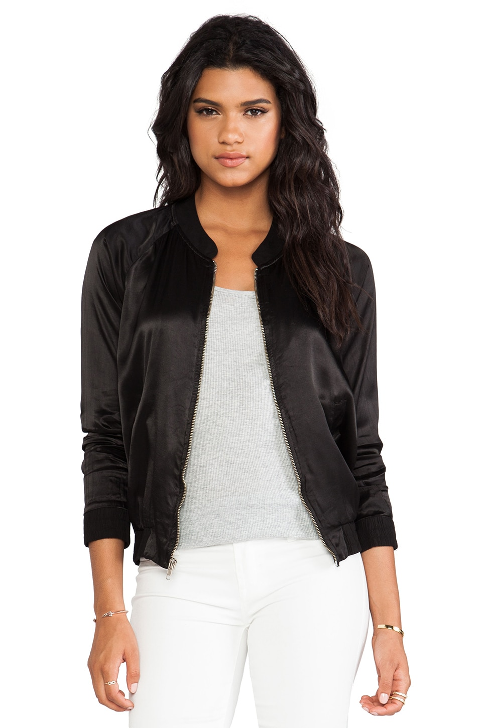 MONROW Satin Rayon Bomber in Black