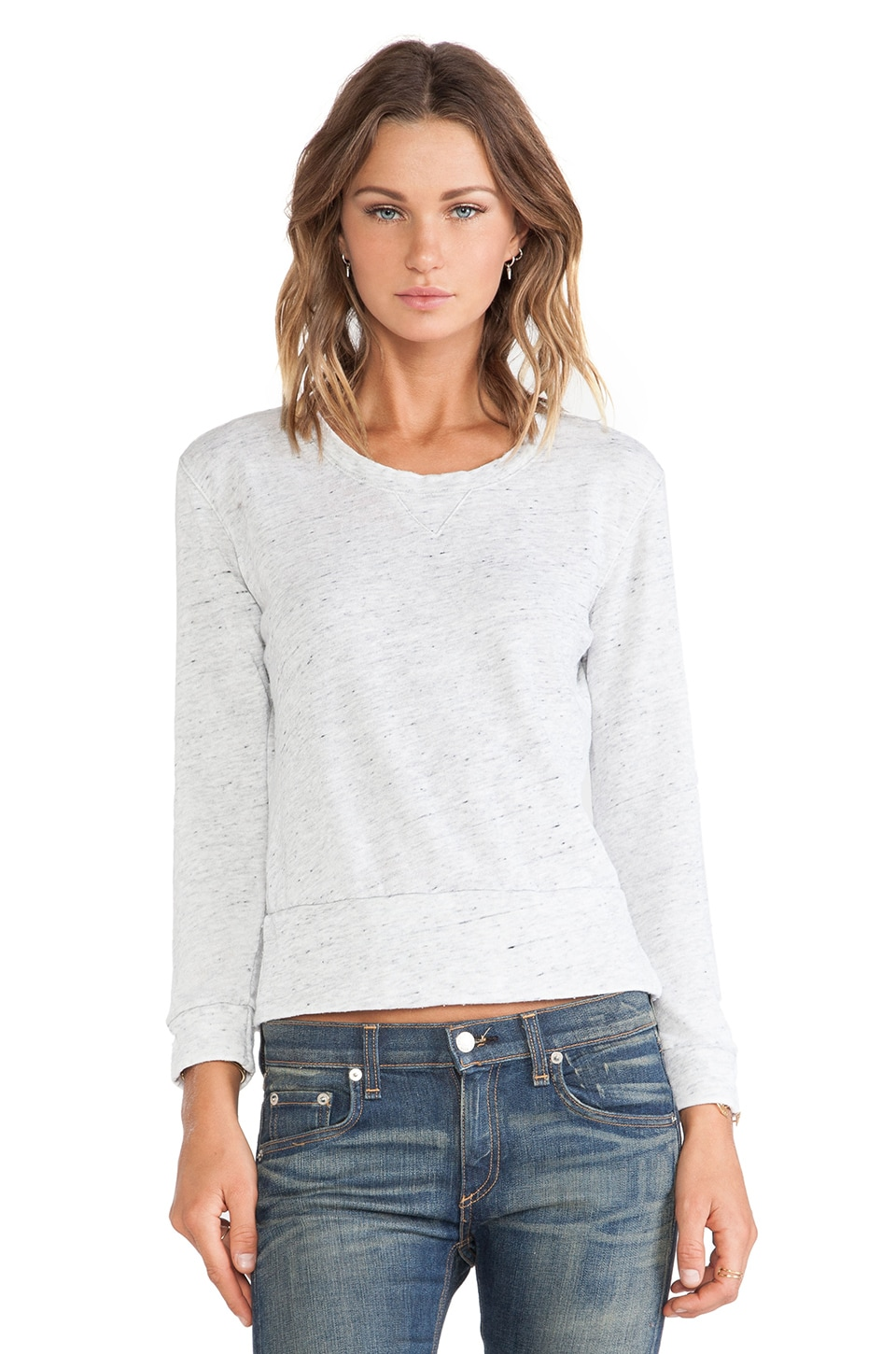 MONROW Vintage Neps Fleece Burn Out Crew Sweatshirt in Heather