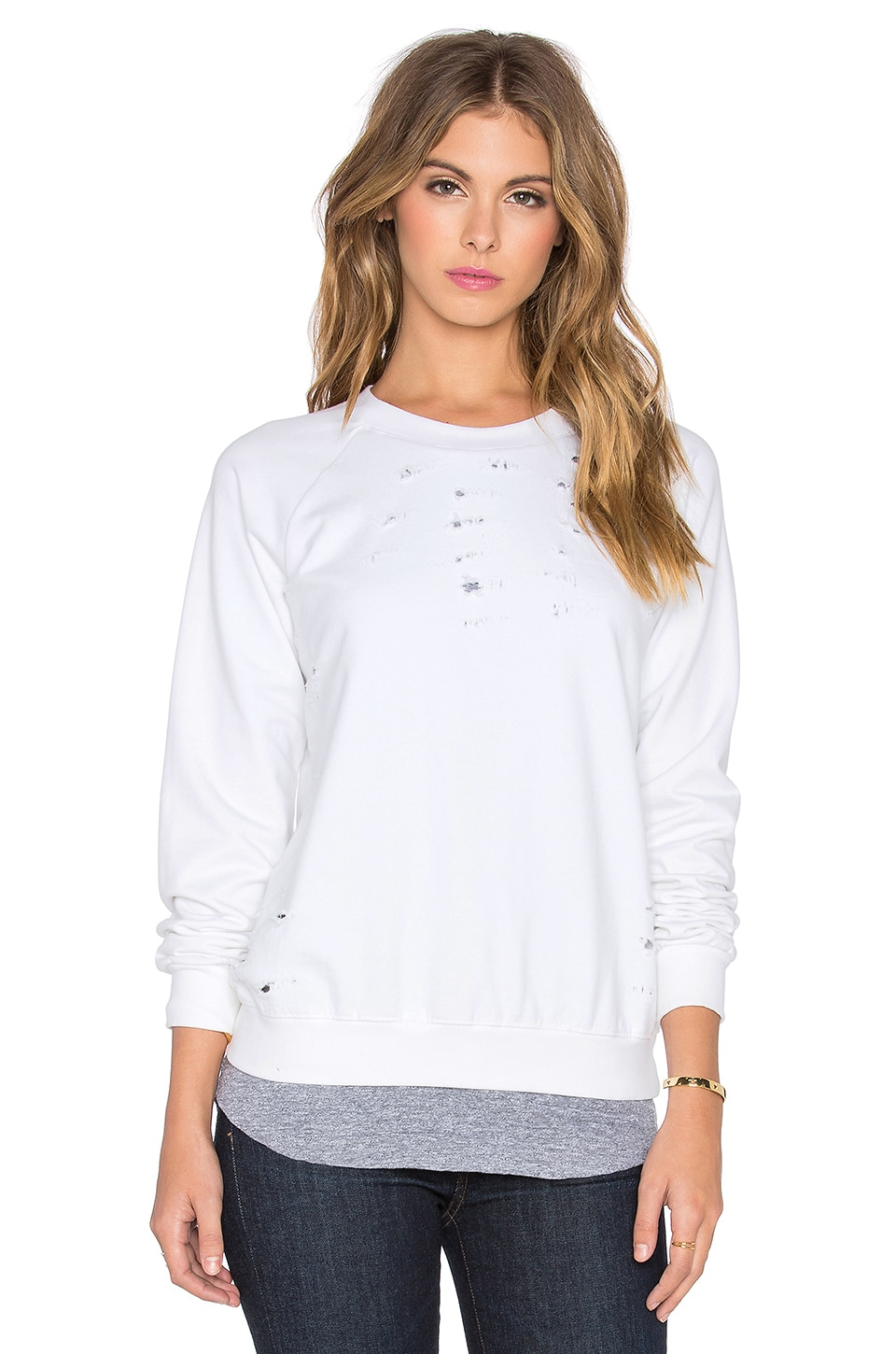 MONROW Distressed Double Layer Sweatshirt in White