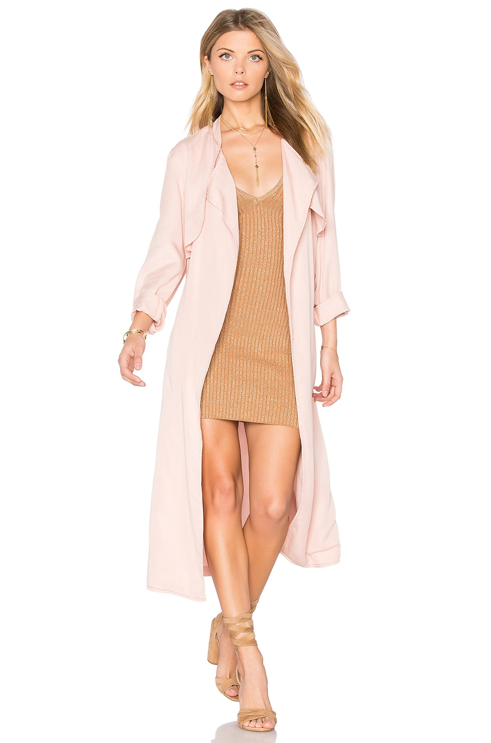 MONROW Long Trench Coat in Cheeky Pink