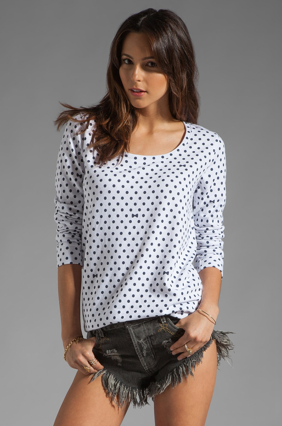 MONROW Polka Dot Boyfriend Sweatshirt in White